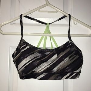 Patterned Sports Bra with Neon Green Straps